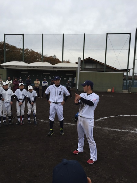 同じく野球教室指導中 栗山選手 永江選手