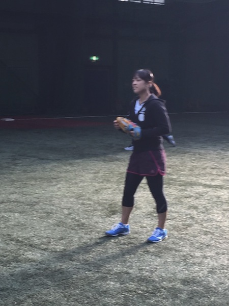 森田選手レアなラケットじゃなくグラブのショット