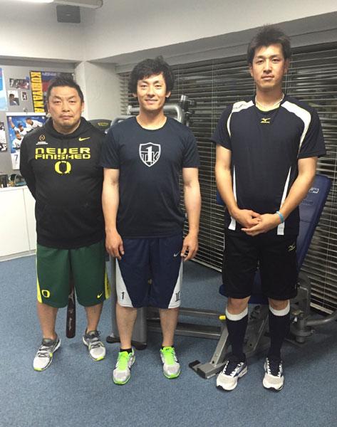 栗山選手、赤堀選手とワークアウト